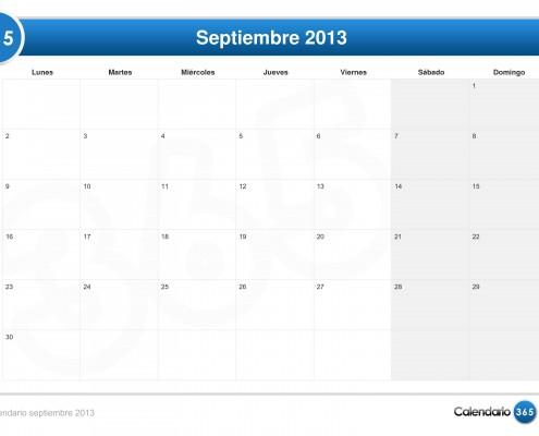 Calendario septiembre 2013