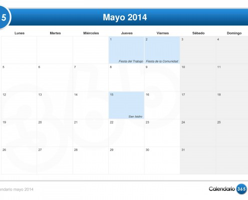 Calendario mayo 2014